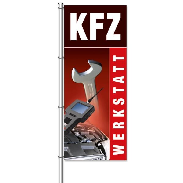 Fahne KFZ-Werkstatt mit Bildmotiven aus der KFZ-Werkstatt  H 300 x B 120cm