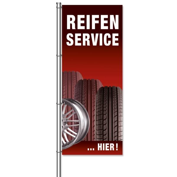 Fahne Reifenservice Hier Reifenservice: Motiv Reifen & Felge  H 300 x B 120cm