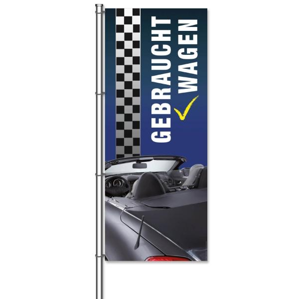 Fahne Gebrauchtwagen mit photorealistischem Bildmotiv: Cabrio  H 300 x B 120cm