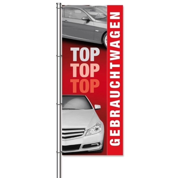 Fahne Gebrauchtwagen Motiv Top-Top-Top: mit Foto Autos  H 300 x B 120cm