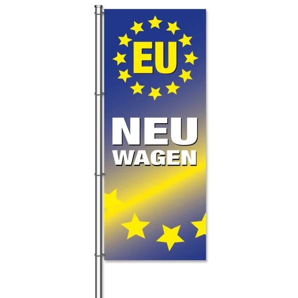 Fahne EU-Neuwagen für Autohandel mit EU-Fahrzeugen  H 300 x B 120cm