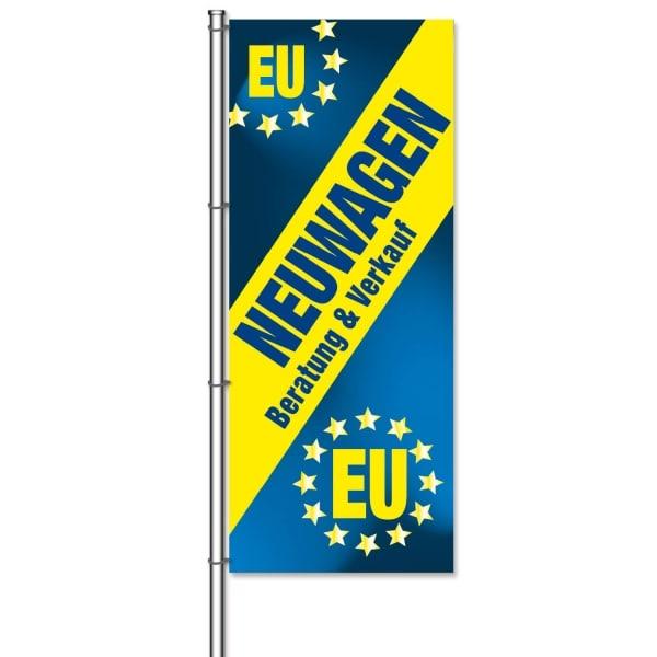 Fahne EU-Neuwagen Motiv mit Text: Beratung und Verkauf  H 300 x B 120cm