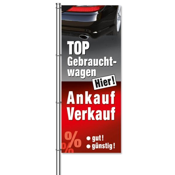 Fahne Gebrauchtwagen TOP: Hier Ankauf / Verkauf mit Bildmotiv  H 300 x B 120cm