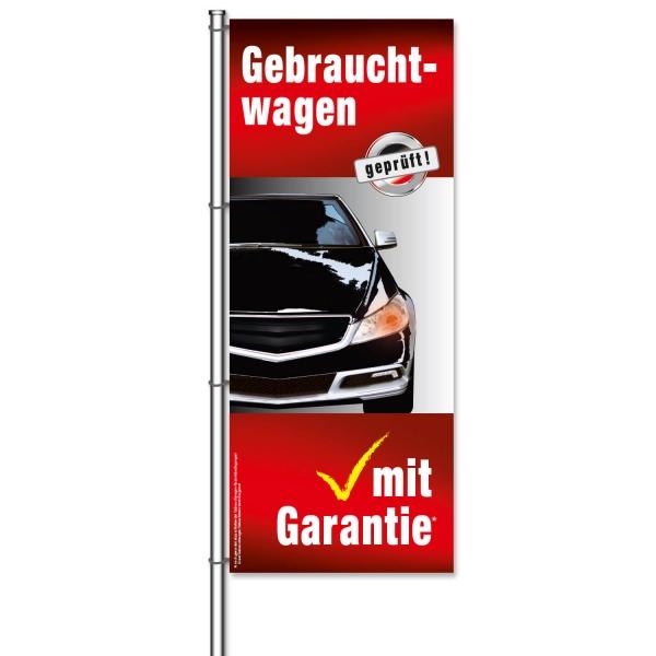 Fahne Gebrauchtwagen Gebrauchtwagen geprüft, mit Garantie*  H 300 x B 120cm