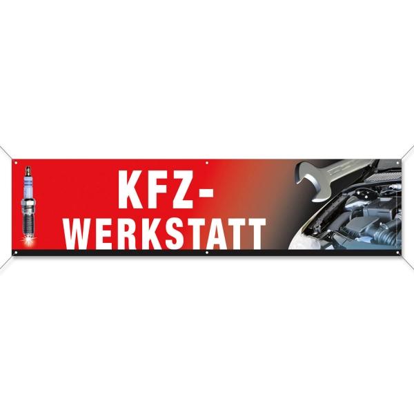 Spannband KFZ-Werkstatt: mit modernen Bildmotiven  Rot