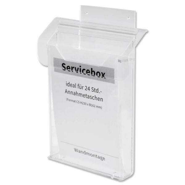 Servicebox / Infobox ideal für 24 Std.-Annahmetaschen, mit Deckel, Wandmontage