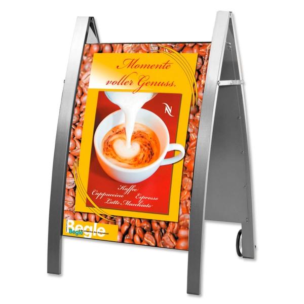 Kundenstopper Easy: für DIN A1 Plakate, mit Rollen, fahrbar