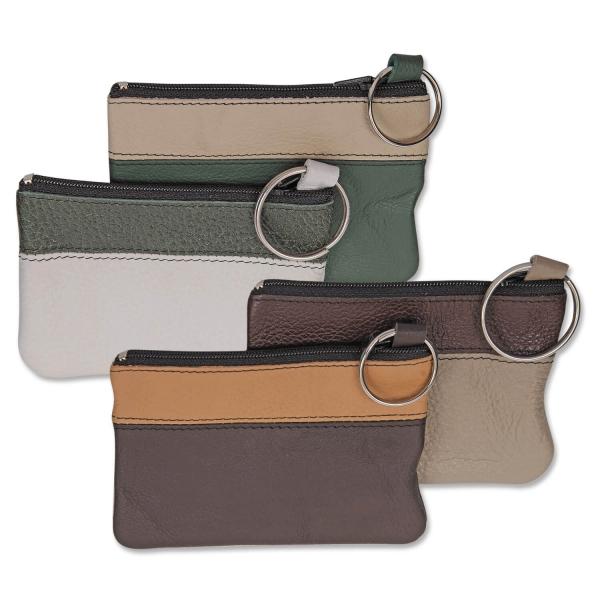 Schlüsseltasche Nuro mit farblich sortierten Randstreifen TampDruck mögl.