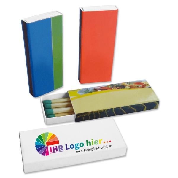 Zündholzschachtel 11 Zündhölzer mit farbigem Zündkopf in bedruckter Schachtel