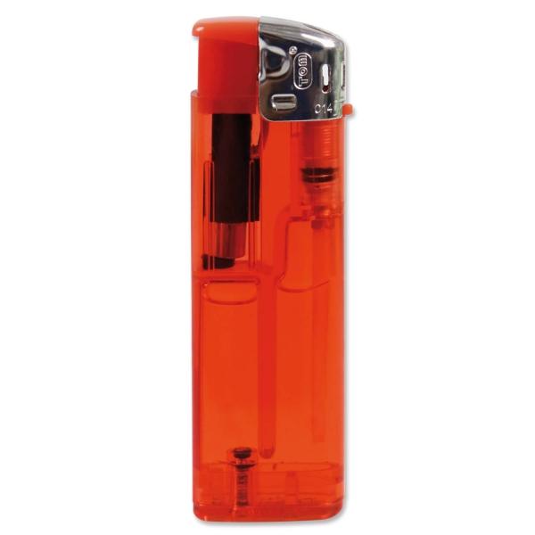 Elektronikfeuerzeug CLEAR: nachfüllbar, Flammenregulierung, mit Kindersicherung