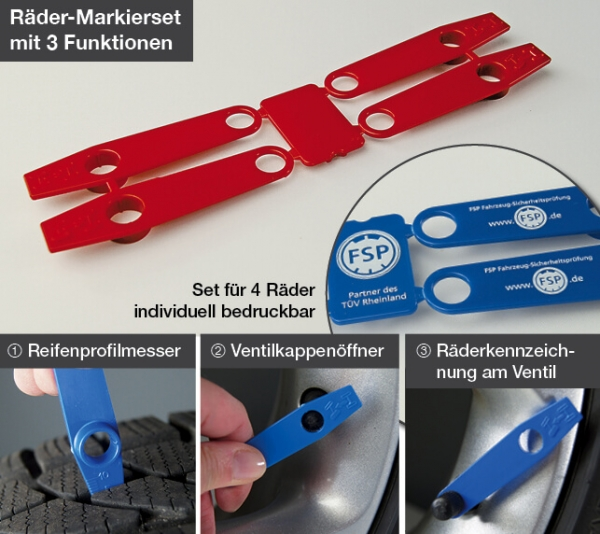 Räder-Markierset mit Profilmesser, Ventilkappenöffner und Marker f.Radposition Rot