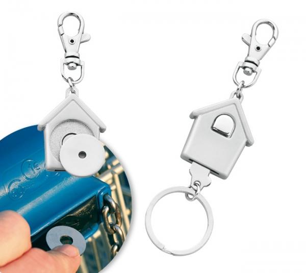 Schlüsselanhänger House mit Einkaufswagen-Chiphalter und Minikarabiner