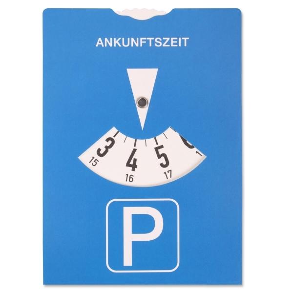 Parkscheibe mit Bußgeldrechner (Stand 05/2014) auf Rückseite