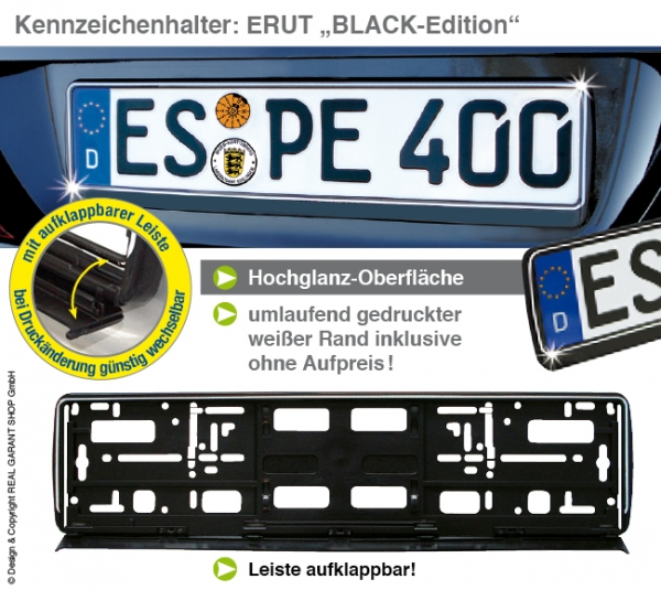 """Kennzeichenhalter ERUT  """"Black-Edition"""": mit Werbeleiste zum Aufklappen mit 1-Farbdruck"""