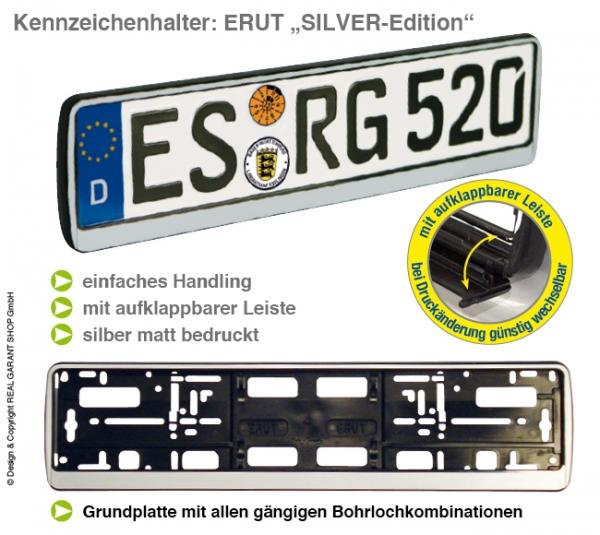 """Kennzeichenhalter ERUT  """"Silver-Edition"""": mit Werbeleiste zum Aufklappen mit 1-Farbdruck"""
