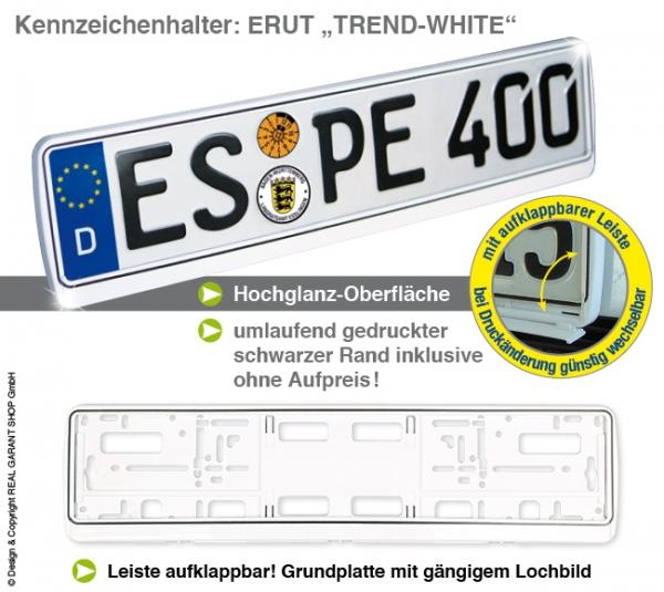 """Kennzeichenhalter ERUT  """"Trend-White"""""""": mit Werbeleiste zum Aufklappen mit 1-Farbdruck"""