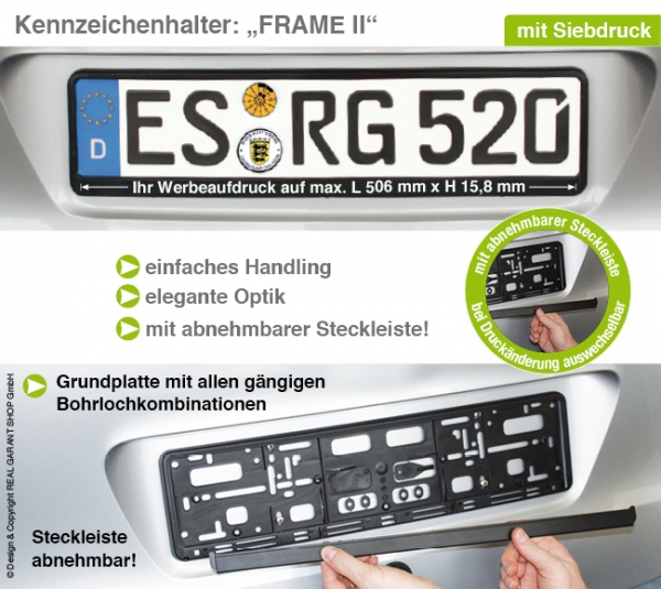 Kennzeichenhalter Frame II: Grundplatte mit Steckleiste (leicht vorgebogen) mit 1-Farbdruck