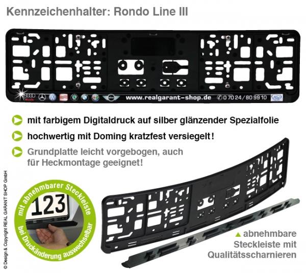 Kennzeichenhalter RONDO-LINE III: Digitaldruck mit Doming, Silberglanzeffekt