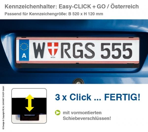 Kennzeichenhalter EASY-CLICK & GO: mit Schiebeverschluß, für Österreich mit 1-Farbdruck