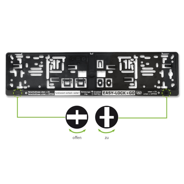 Kennzeichenhalter EASY-LOCK & GO: Drehverschlüsse integriert mit 1-Farbdruck