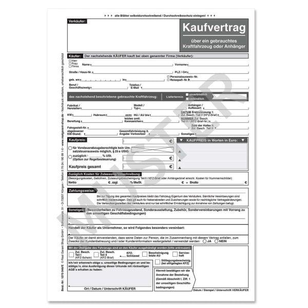 Kaufvertrag Kfz Für Gebrauchte Kraftfahrzeuge Anhänger Weißschwarz