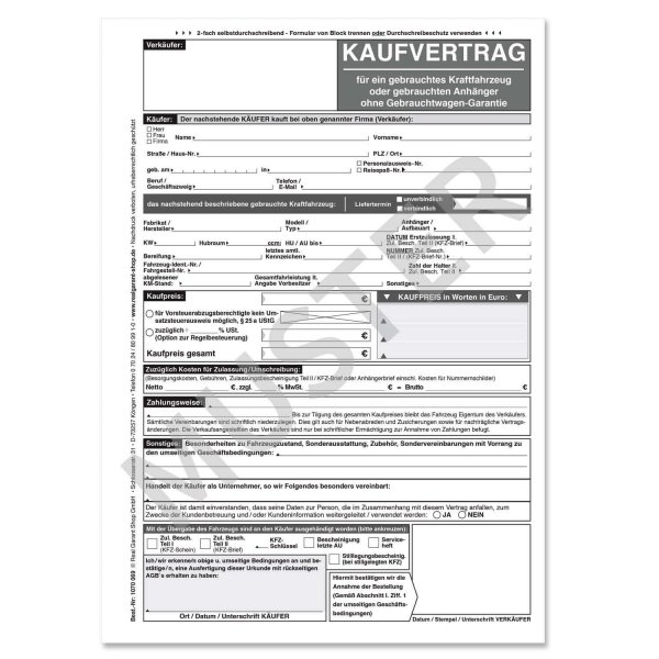 Kaufvertrag Kfz Für Gebrauchtwagen Ohne Gw Garantie Weißschwarz