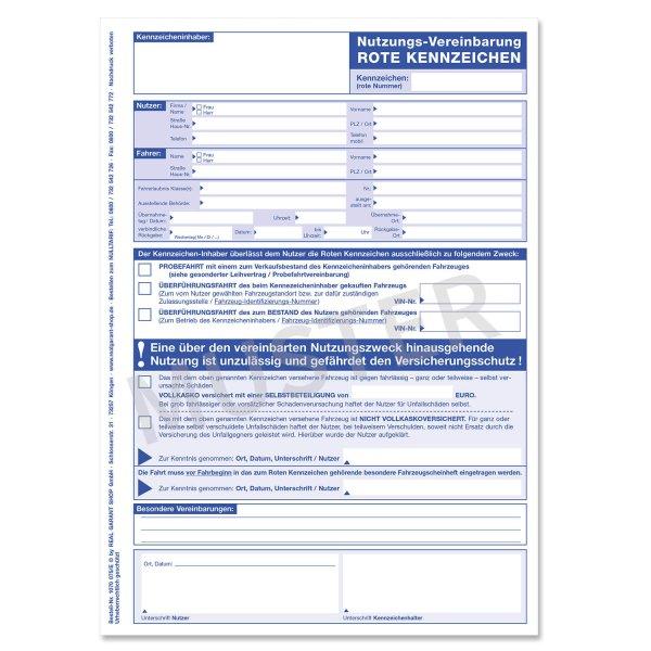 Nutzungsvereinbarung Für Fahrten Mit Roten Kennzeichen Weißblau