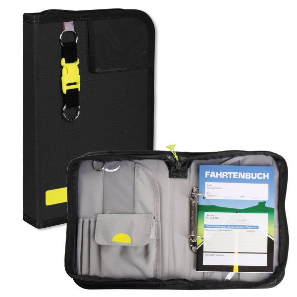 KFZ-Bordmappe mit Fahrtenbuch und Schlüsselanhänger