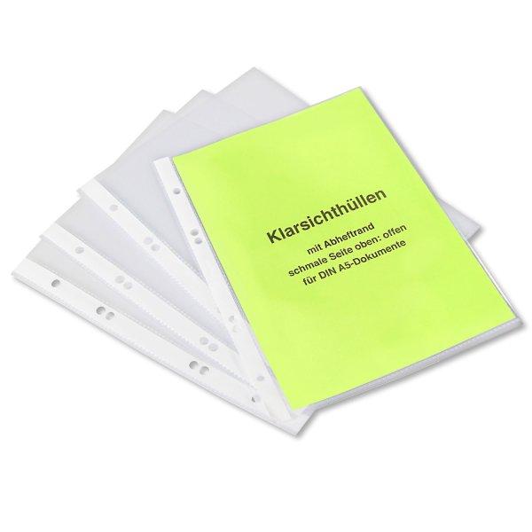 Klarsichthüllen A5 Dokumentenhüllen mit Abheftlochung, oben offen