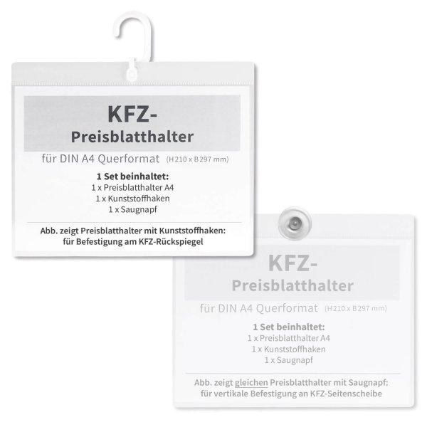 Preisblatthalter A4 Car-Flex Quer: Spiegel & Seitenscheibe