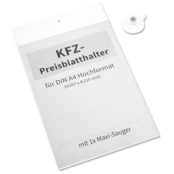 Preisblatthalter A4 mit 1x Maxi-Haftsauger: für A4 Infoblatt