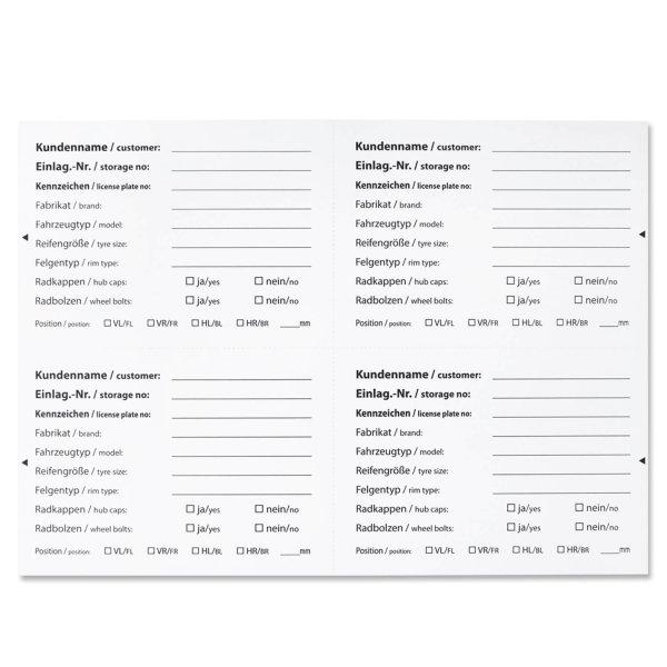 Zubehör-Etiketten vorgedruckte Reifenetiketten, DIN A6