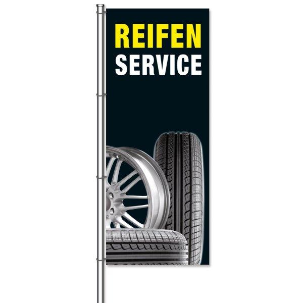 Fahne Reifenservice Motiv mit Fotos von Reifen und Felgen  H 300 x B 120cm
