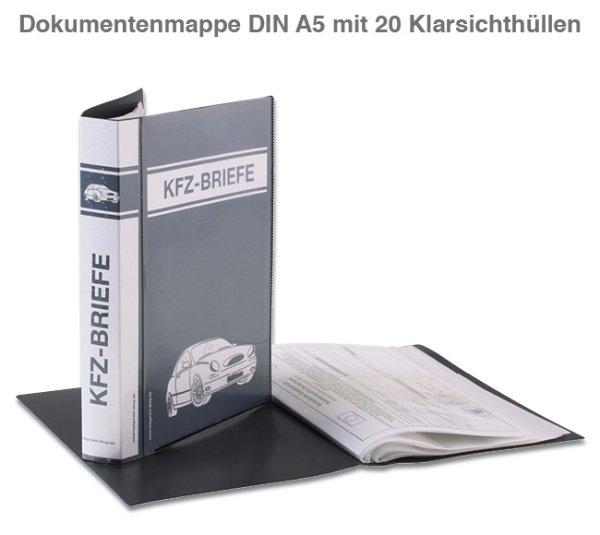Dokumentenmappe A5 mit 20 Klarsichthüllen für KFZ-Briefe  20 Hüllen A5