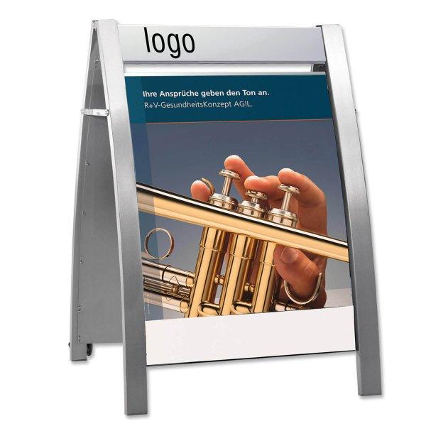 Kundenstopper Boston für DIN A1 Plakate, fahrbar, für Innen- und Außenbereich