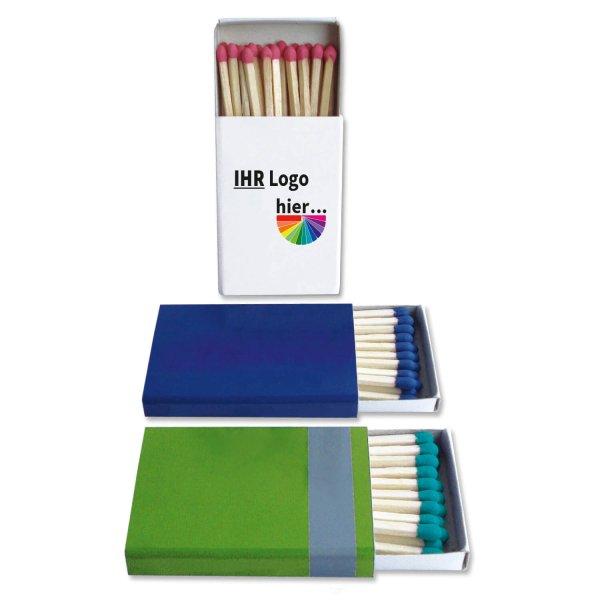 Zündholzschachtel mit 25 Zündhölzer mit farbigem Zündkopf Schachtel bedruckt