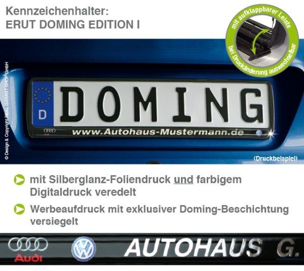 """Kennzeichenhalter ERUT """"Doming-Edition I"""" mit Digitaldruck Silberglanz & Doming"""