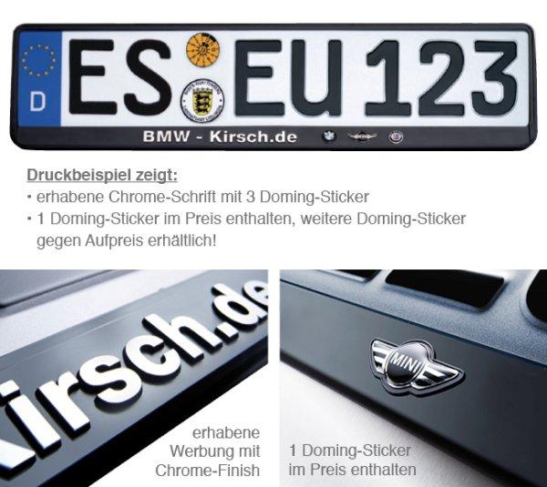 Kennzeichenhalter Erut de Luxe: erhabene Schrift, 1 Doming mit Chrome-Finish erhaben 1 Domg.