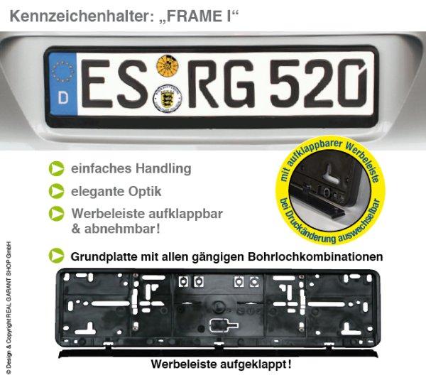 Kennzeichenhalter Frame I: mit aufklappbarer Werbeleiste, (Leicht vorgebogen) ohne Aufdruck