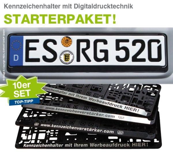 """Kennzeichenhalter 10er-Set """"CLASSY"""": Grundplatte mit Steckleiste"""