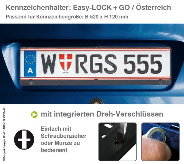 Kennzeichenhalter EASY-LOCK & GO: mit Drehverschluß für Österreich mit 1-Farbdruck