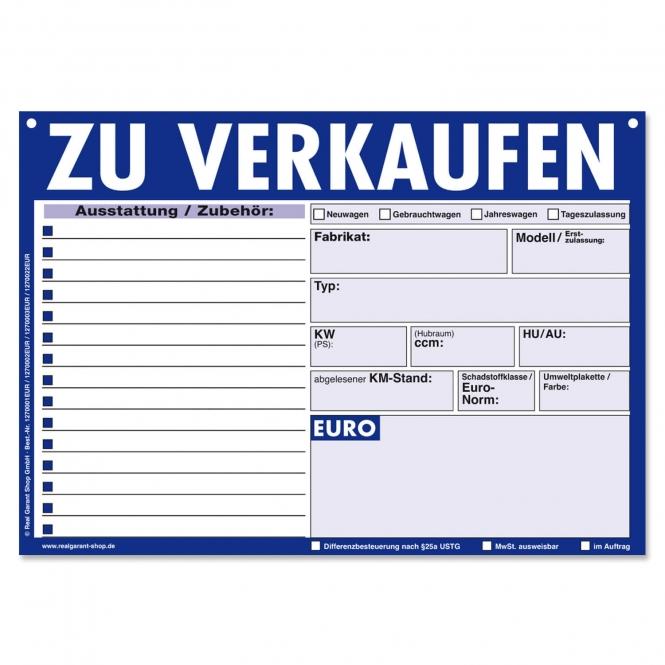 Verkaufsschilder KFZ Zu Verkaufen: 15 Zeilen für Zubehör Blau/Schwarz