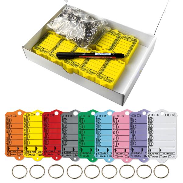 Schlüsselanhänger Autotag 1: 200 Anhänger + Ringe, 1 Stift  Gelb