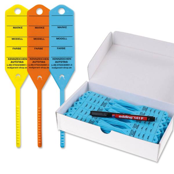 Schlüsselanhänger Autotag 3:  Schnellverschluß, 300 Stück  Blau