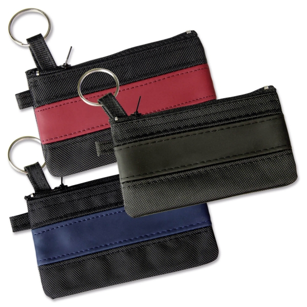 Schlüsseltasche Colour Lane mit Streifenapplikation Schwarz/Schwarz