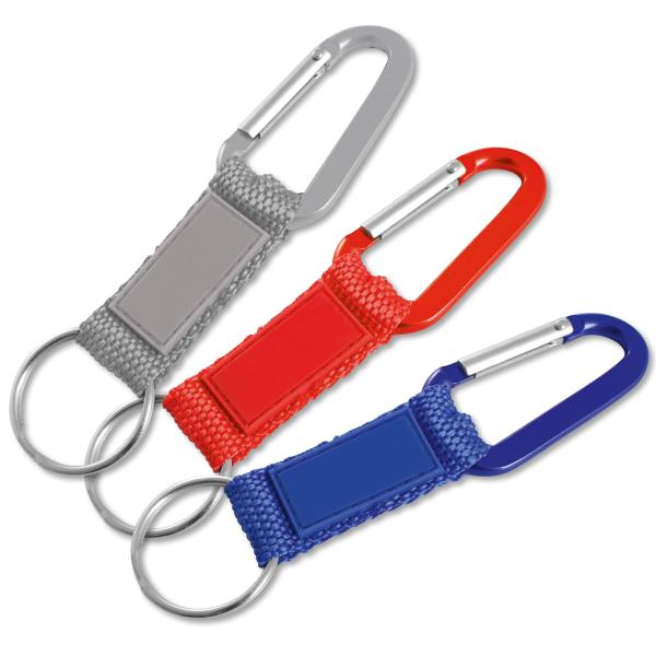 Schlüsselanhänger mit Karabinerhaken, Nylonband mit Kunstleder-Pad Blau