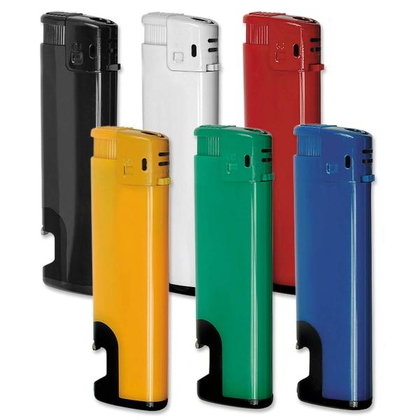 Elektronikfeuerzeug mit Flaschenöffner, Flammenregulierung  Blau