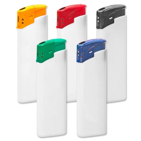 Elektronikfeuerzeug Colour Cap mit Flammenregulierung  Weiß/Blau