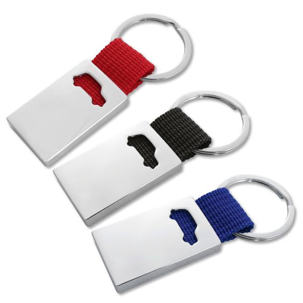 Schlüsselanhänger Driver modisches Styling mit Autologo farbiges Nylonband Silber/Blau