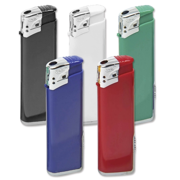 Elektronisches Feuerzeug Nostra mit LED-Taschenleuchte  Blau